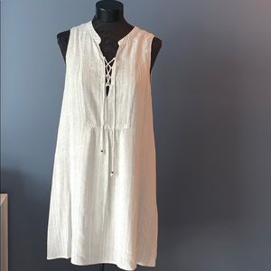 Cream/Navy Lace Up Flowy Dress w/ POCKETS. Lined